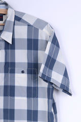 Tommy Hilfiger Jeans Mens S Casual Shirt Check Blue Short Sleeve Summer
