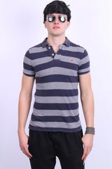 Hollister California Mens S Polo Shirt Striped Cotton Grey Navy Blue - RetrospectClothes