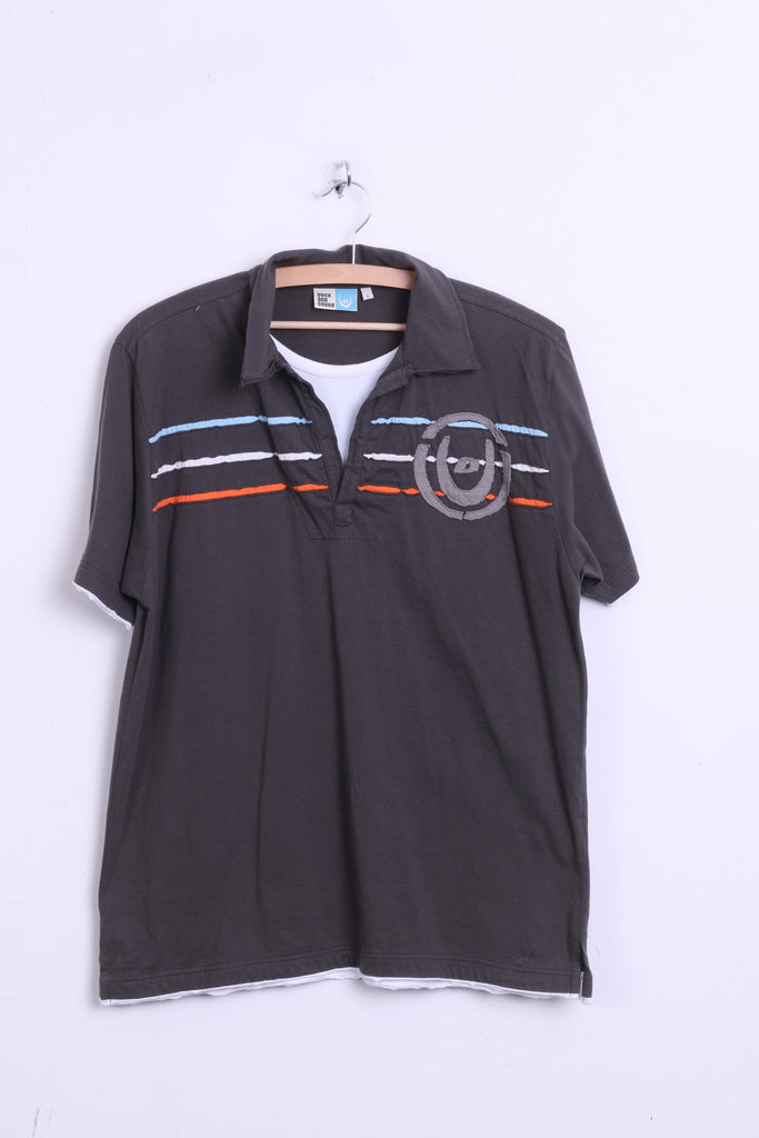Duck and Cover Men L Polo Shirt Cotton Dark Grey Summer Short Sleeve - RetrospectClothes
