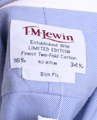 T.M. Lewin Mens 16.5/34.5 XXL Casual Shirt Blue Slim Fit Cotton - RetrospectClothes