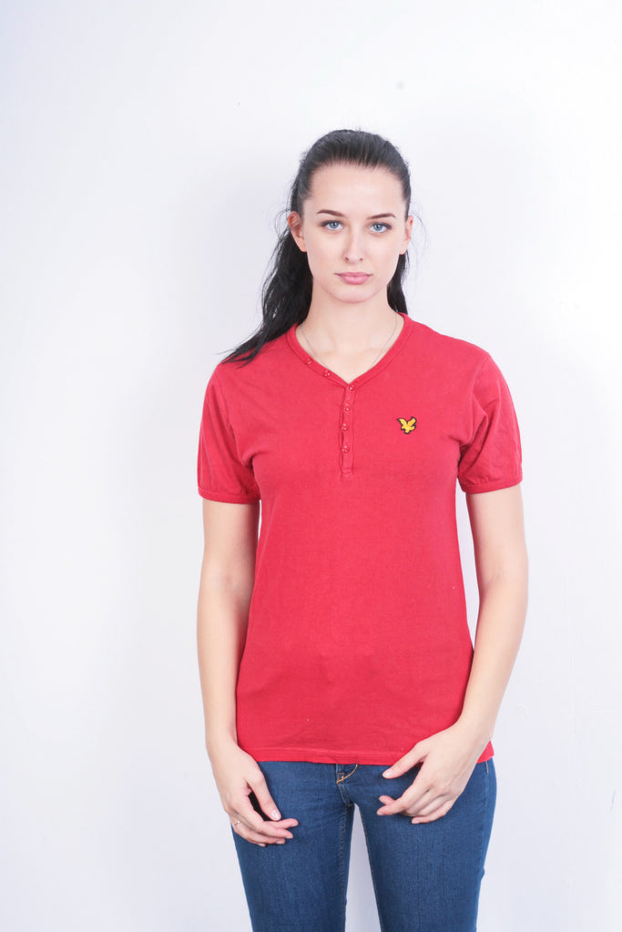 Vintage Lyle & Scott Womens S Shirt Red Cotton - RetrospectClothes