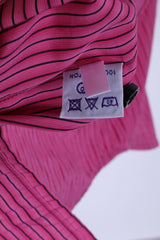TM Lewin Mens 17 34.5 L Casual Shirt Pink Striped Rovereto Fitted Cotton