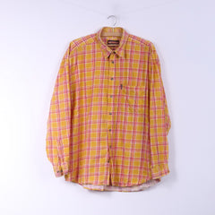 Johhy B Blue Mens L Casual Shirt Check Yellow Top Cotton Buttons Down Collar