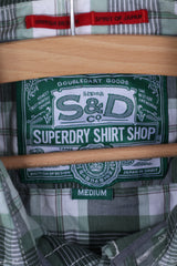 Superdry Mens M Casual Shirt Green Checkered Cotton Japan In Spirit