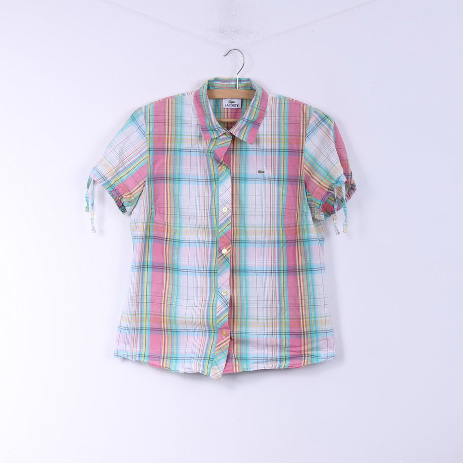 Lacoste Womens 42 M Casual Shirt Pink Check Cotton  Short Sleeve