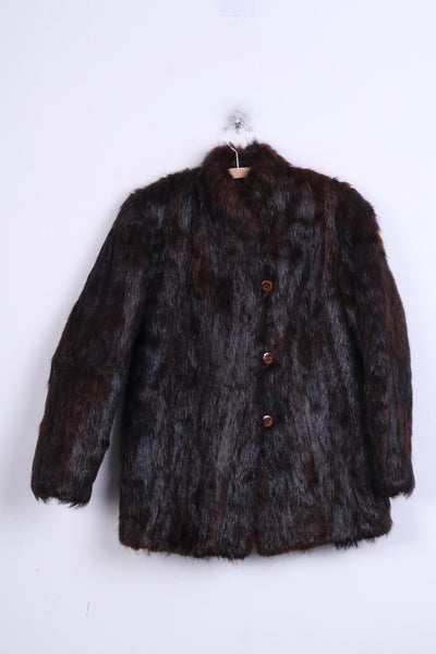 Womens M Jacket Authentic Fox Fur Brown Boho Vintage