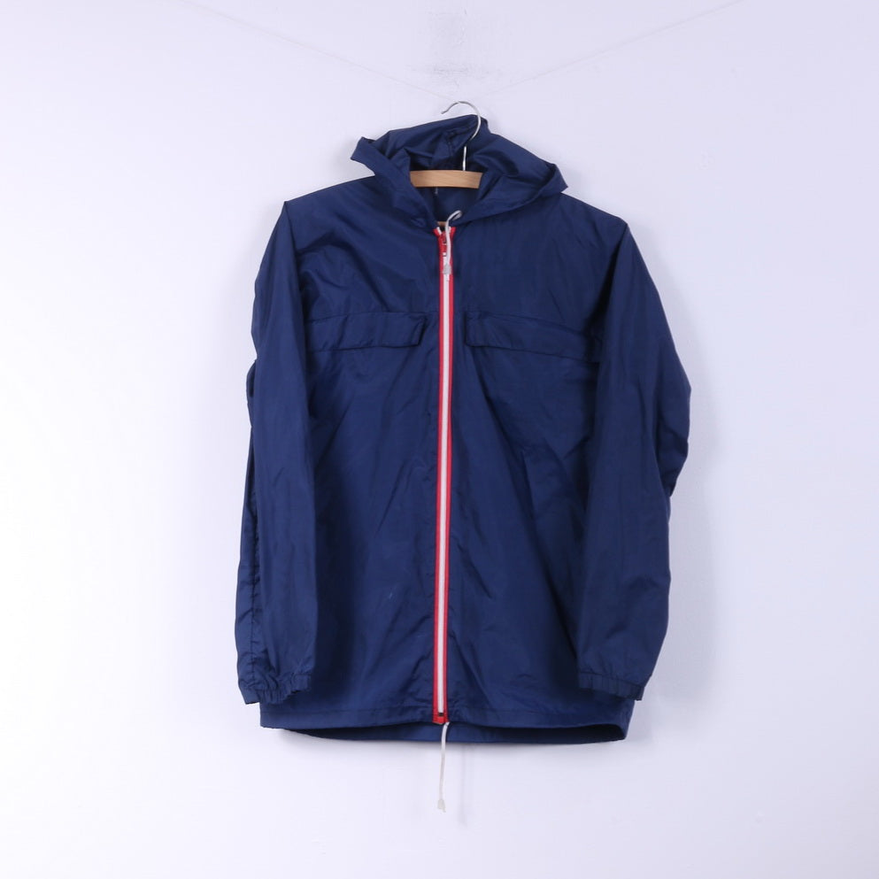 Womens M Lightweight Jacket Navy Full Zipper Hooded Top