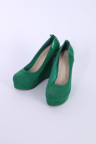 Mode Queen Womens 39 Shoes Wedges High Heels Platform Court Pumps Green