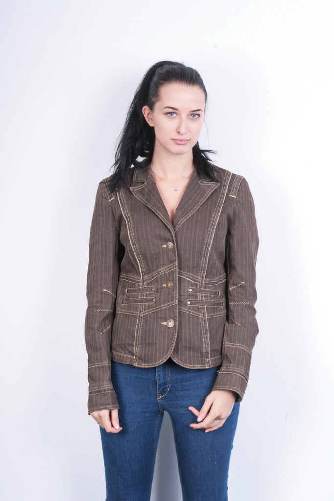 Biba Womens 12 M Blazer Top Suit Jacket Striped Brown Cotton - RetrospectClothes