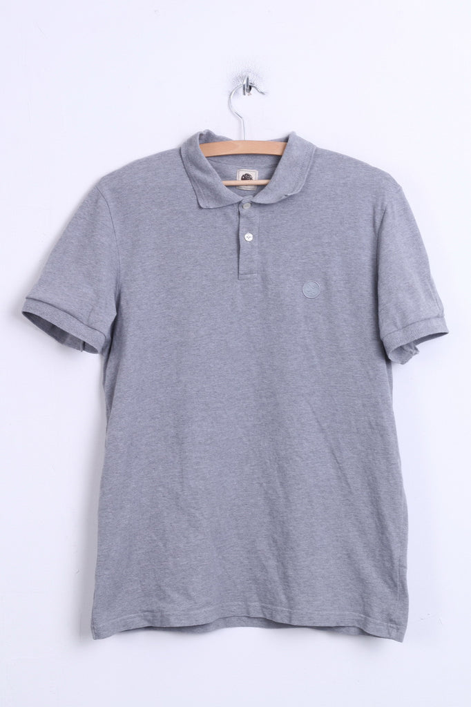 Pretty Green Mens S Polo Shirt Cotton Grey Sport Short Sleeve - RetrospectClothes