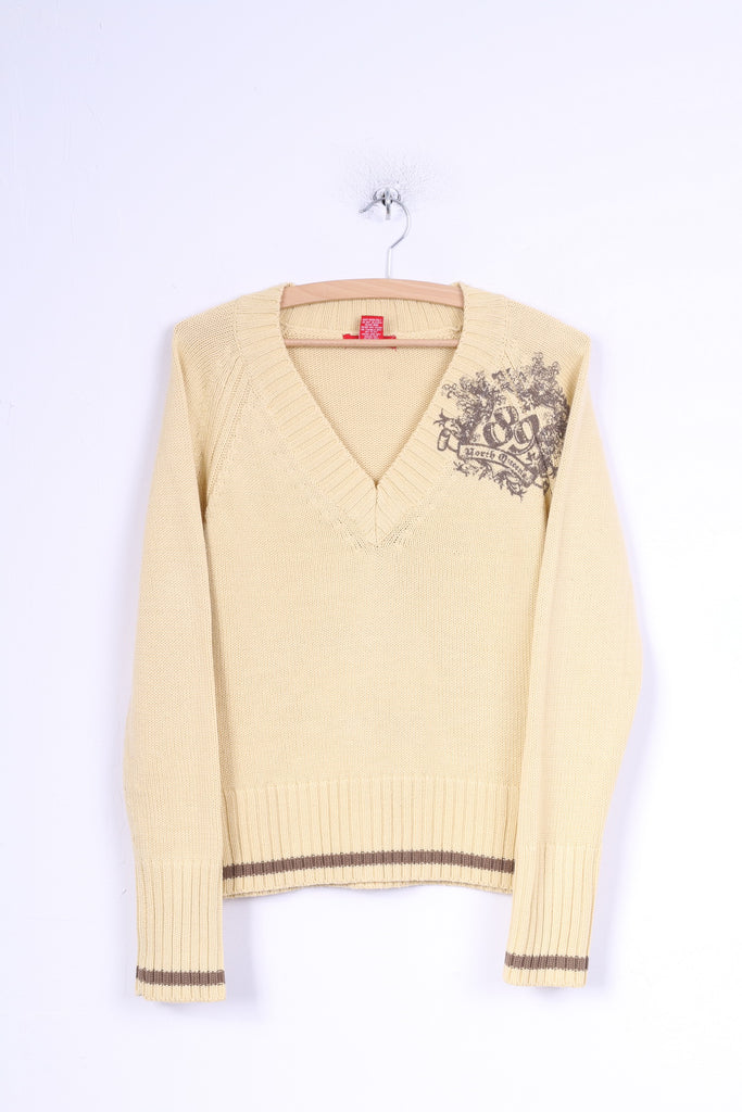 Kenvelo Womens M Jumper Yellow Acrylic V Neck Simply Sweater