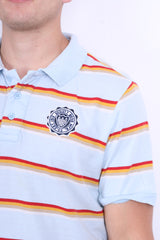 Schott Bros.Inc Mens XL Polo Shirt Blue Short Sleeve Summer Striped - RetrospectClothes
