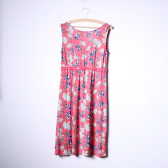 Happy Hollly Womens 40/42 M/L Midi Dress Pink Flowers Print V Neck