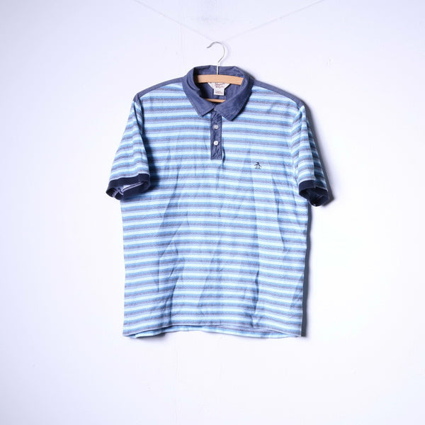 Penguin Mens L Polo Shirt Blue Striped Cotton Buttons Detailed Top