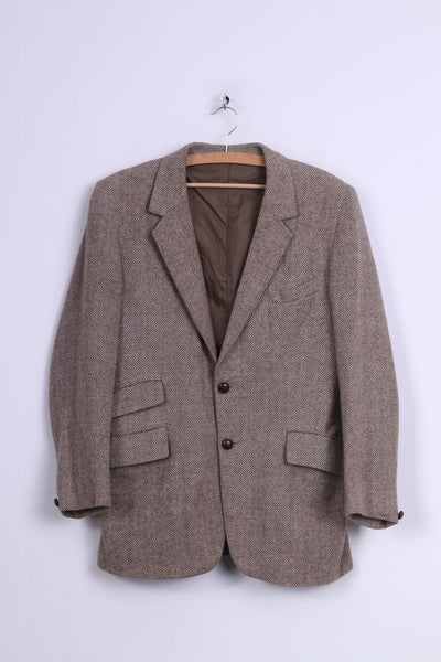 Tailored in England by Haighton of Nantwich Mens 40'' Blazer Single Breasted Wool Herringbone