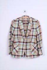 Christian Berg Womens M Blazer Check Green Single Breasted Linen