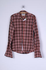 Jack Wills Mens M Casual Shirt Cotton Multi Color Cuffs Checkered British Long Sleeve