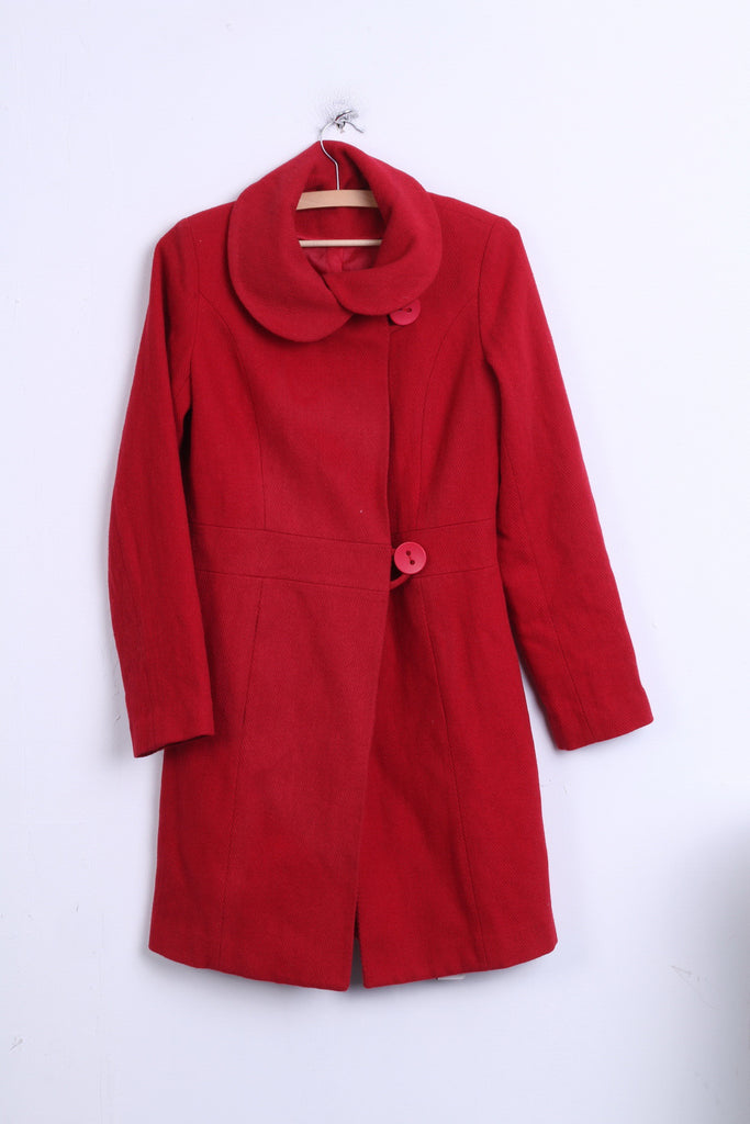 New Look Womens 8 36 S Coat Red Single Breasted Wool - RetrospectClothes