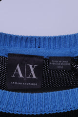 Armani Exchange Mens M Jumper Black 100% Cotton Blue Logo AX Sweater