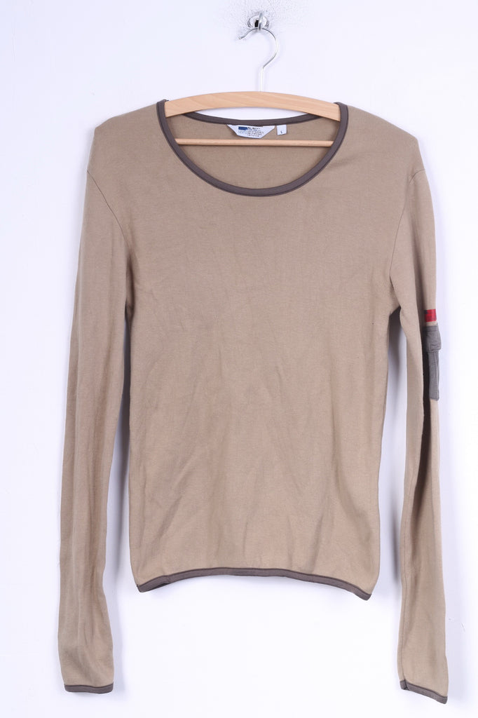 Diesel Womens L (M) Long Sleeved Shirt Beige Cotton Crew neck Military Top