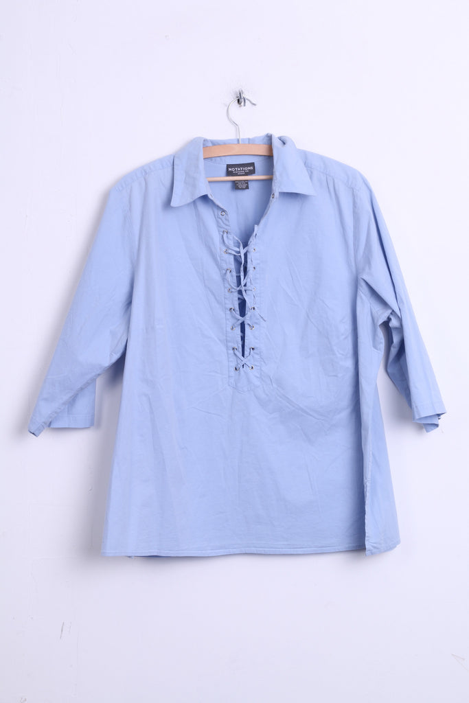 Notations Womens 2XL Casual Shirt Cotton Blue Short Sleeve - RetrospectClothes