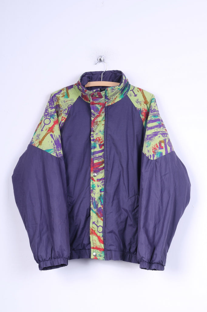 Retro Womens L Jacket Purple Festival Padded Zippered Cotton Blend Bomber