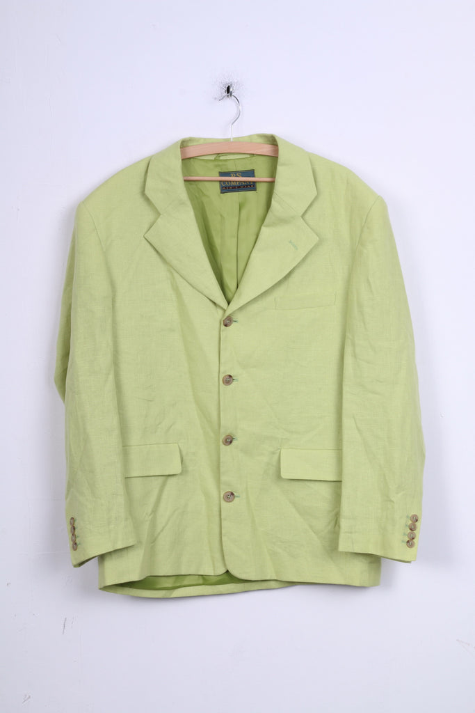 P.S. Company Mens 50 L Jacket Lime Blazer Linen Single Breasted