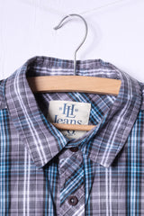 Henri Lloyd Mens M Casual Shirt Blue Check Long Sleeve Cotton Pockets