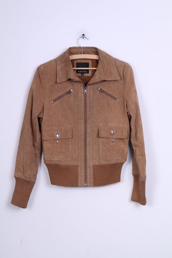 AMISU Womens 40 L  Jacket Ramones Leather Top New Yorker Zip Up Camel