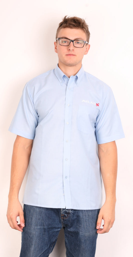 Dickies Mens 15.5/39 L/XL Casual Shirt Blue Short Sleeve Summer Cotton - RetrospectClothes