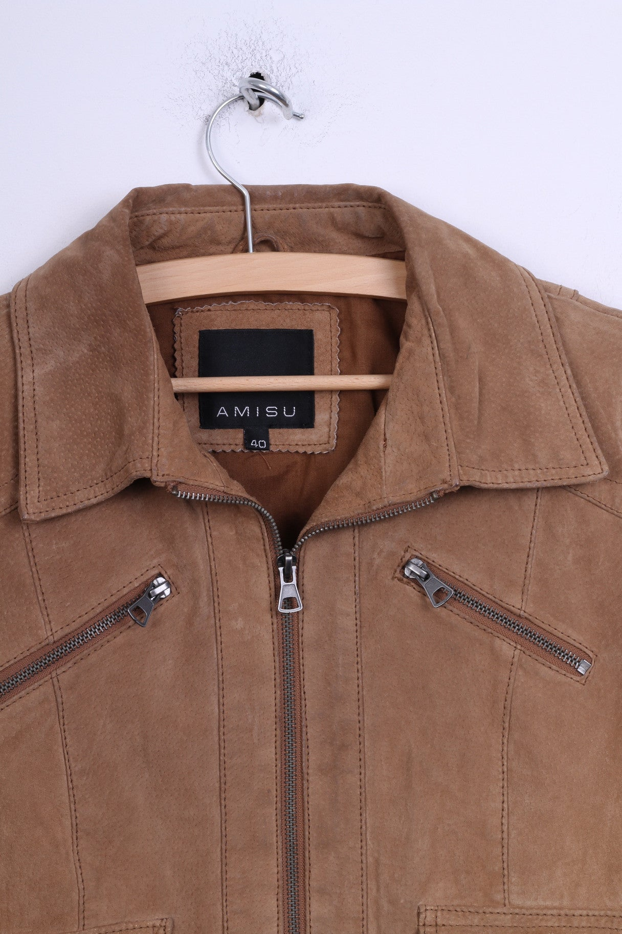 923c19ca AMISU Womens 40 L Jacket Ramones Leather Top New Yorker Zip Up Camel