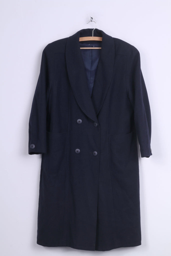 C&A Womens 16 2XL Coat Double Breasted Wool Short Fitting Navy