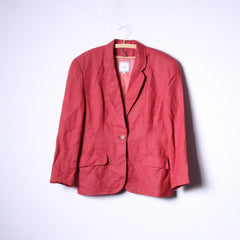 Marc Aurel Womens 42 Blazer Red Single Breasted Linen Shoulder Pads Top