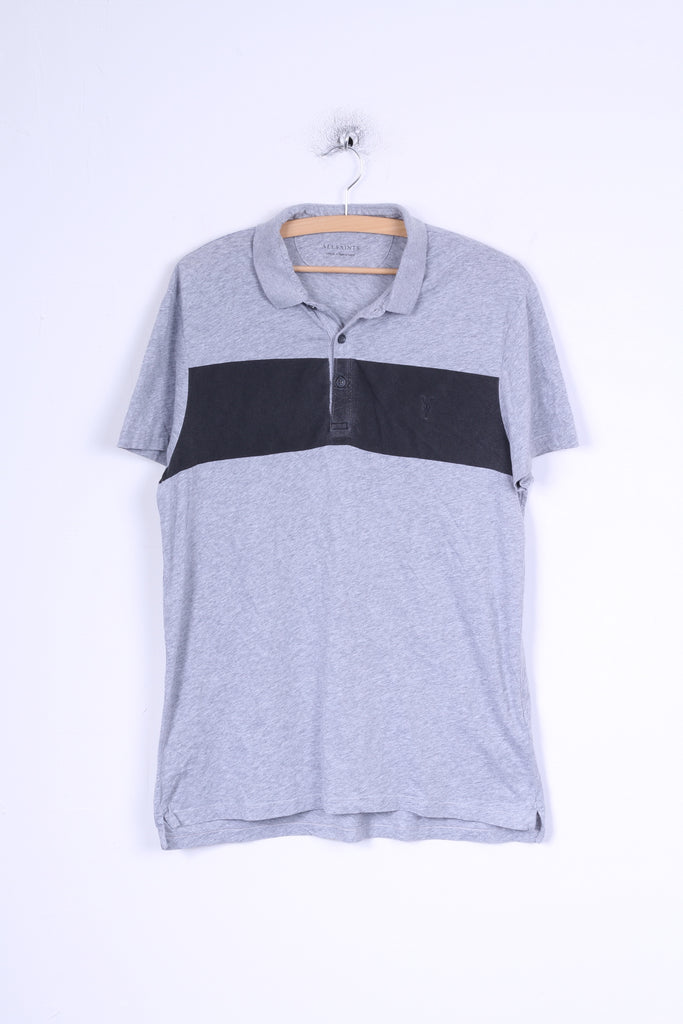 All Saints Mens S Polo Shirt Grey Cotton Stretch Short Sleeve