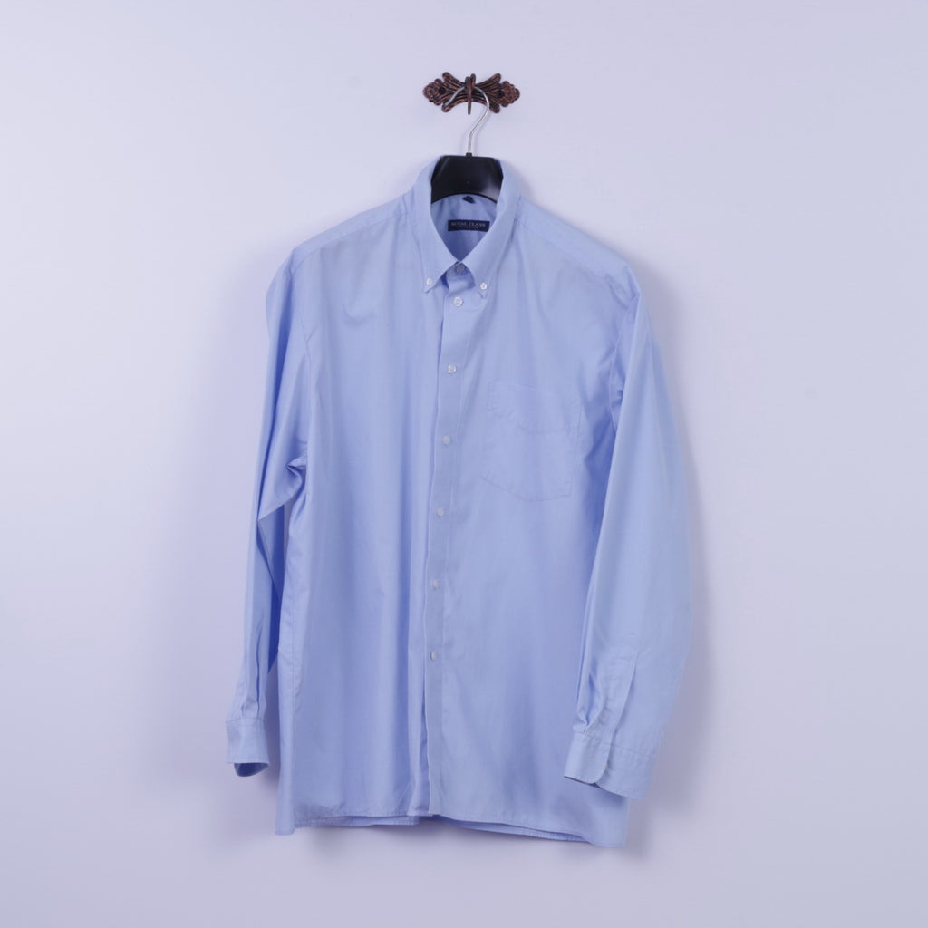 Royal Class Mens 45 XXL Casual Shirt Blue Cotton Business Line Long Sleeve Top