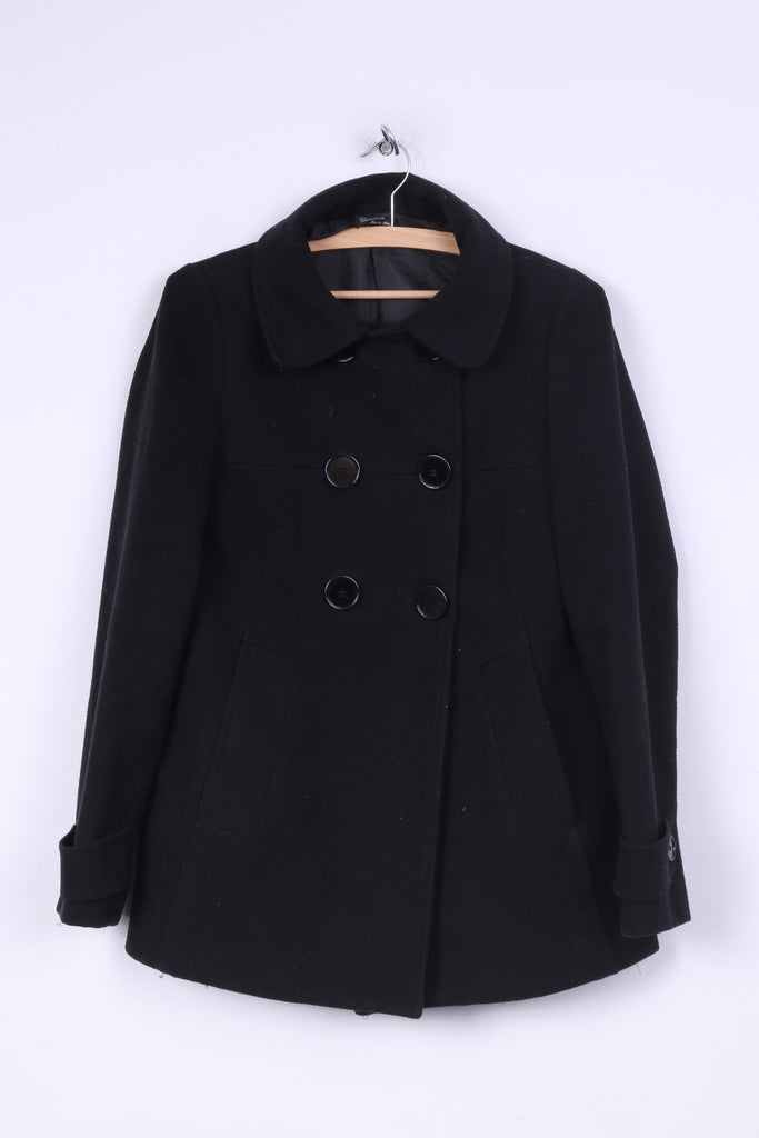 Terranova Womens M Cappotto Coat Jacket Nero Black Made in Italy Double Breasted
