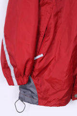 Shamp Mens S Jacket Nylon Red Waterproof Full Zipper Hidden Hood Unisex Sportswear