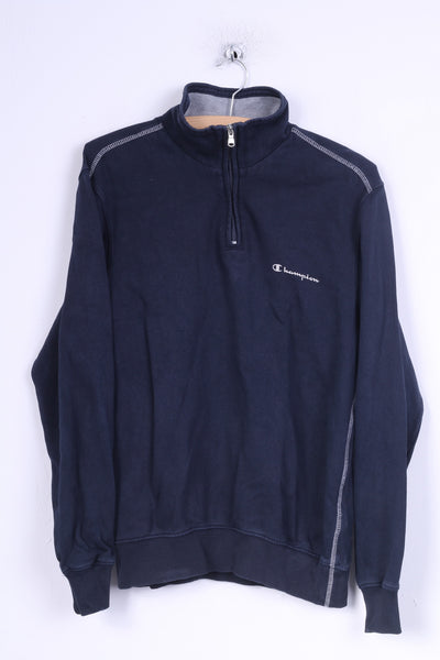 Champion Womens S Sweatshirt Navy Cotton Zip Neck Stand Up Collar