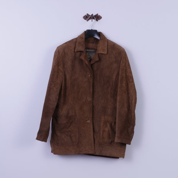 Privilegi Womens 48 XXL Blazer Vintage Brown Leather Suede Designed in Italy Jacket