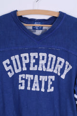Superdry Mens XL (M) Sweatshirt Blue V Neck Cotton State #45