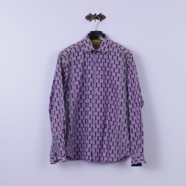 Robert Graham Mens XL Casual Shirt Purple Cotton Trim Silk Long Sleeve Classic Fit