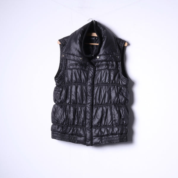 Orsay Womens 40 M/L Bodywarmer Full Zipper Padded Black Shiny nylon Vest