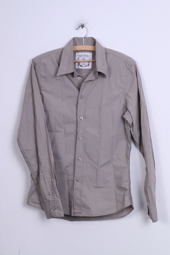 GUESS Mens S Casual Shirt Grey Cotton Long Sleeve Standard Collar
