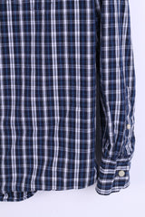 Merona Mens S Casual Shirt Check Navy Cotton Top - RetrospectClothes