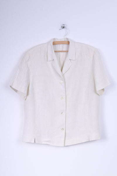 No name Womens 18 44 L Jacket Cream Linen Short Sleeve Blazer