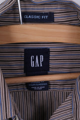 GAP Mens S Casual Shirt Brown Striped Cotton Classic Fit Long Sleeve