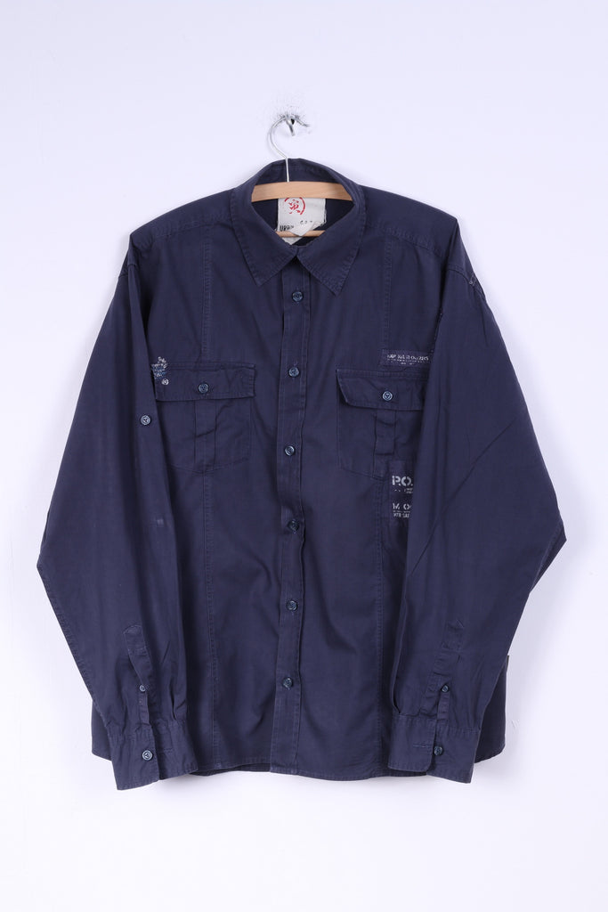 C&A Angelo Litrico Mens XL Casual Shirt Navy Blue Cotton Urban District Detailed Buttons