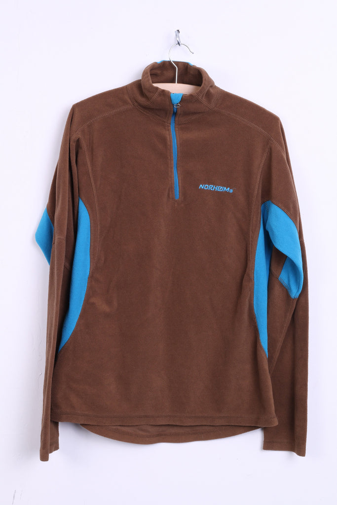 Norheim Womens L Fleece Top Jacket Brown Zip Neck Turquoise Inserts - RetrospectClothes