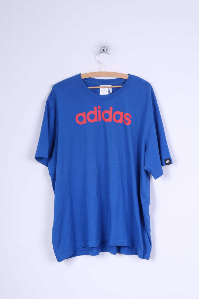 Adidas Mens 2XL T- Shirt Blue Cotton Crew Neck Jersey Shirt Top