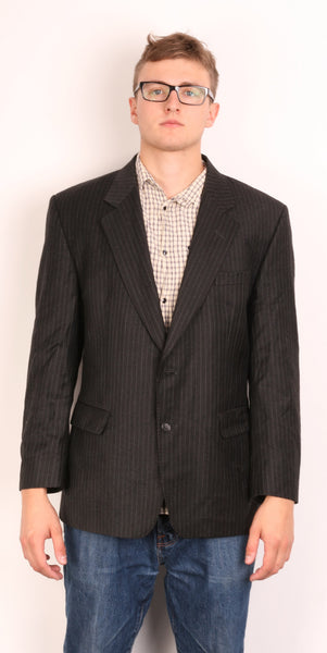 Daks Jermyn Street Mens 42 S Blazer Jacket Wool Striped Black - RetrospectClothes